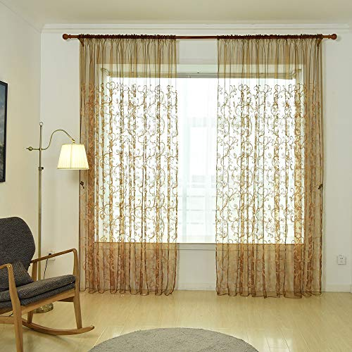 BeautyShe Sheer Curtains 98 Inch Length-Back Tab and Rod Pocket Voile Drape Curtains for Living Room