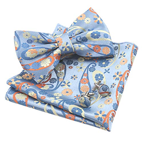 (Alizeal Mens Handmade Floral Pre-tied Bow Tie, Hanky and Cufflinks Set, Yellow+Orange)