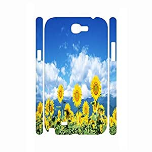 Customized Relax Series Sunflower Blooming Patern Anti-Scratch Hard Plastic Phonce Case For Samsung Galaxy Note 2 N7100