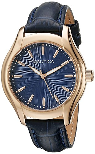 Nautica Women's 'NCT 18 MID' Quartz Stainless Steel and Leather Casual Watch, Color:Blue (Model: NAD12002M)