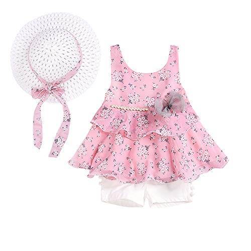 LOliSWan 3PCS Little Girls Summer Outfits Clothes Floral Vest T-Shirt Tops +Shorts Pants+Sun Hat Set (Pink, 3-4 Yesrs) ... - Front Blended Chino Shorts