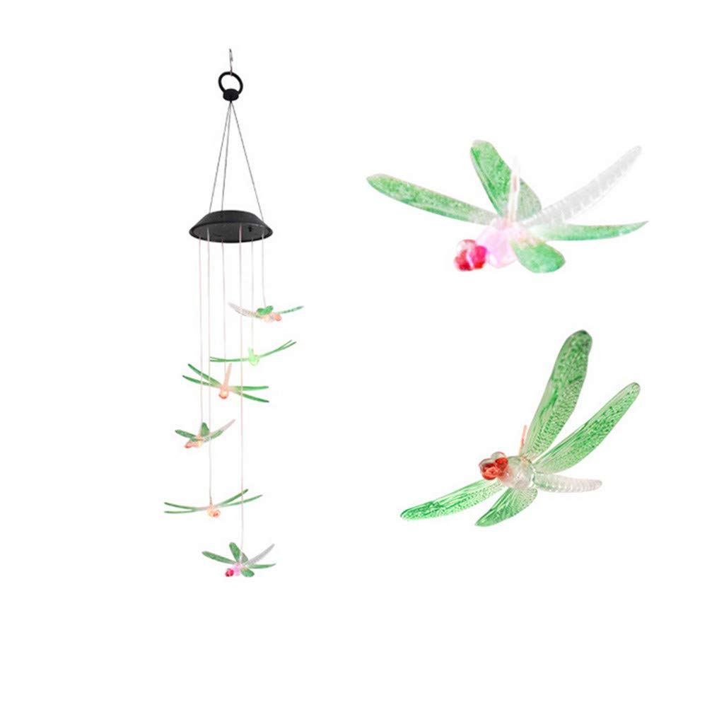 ❤️Byedog❤Color Changing LED Solar Wind Chime Dragonfly Wind for Gardening Lighting by Byedog_❤️Furnitures