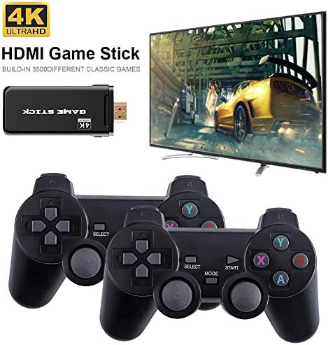 TiTaKa USB Wireless Console Game Stick Video Game Console, 8 Bit Mini Retro Controller HDMI Output Dual Player Built in 3500 Classic Game for Adults and Children, Black