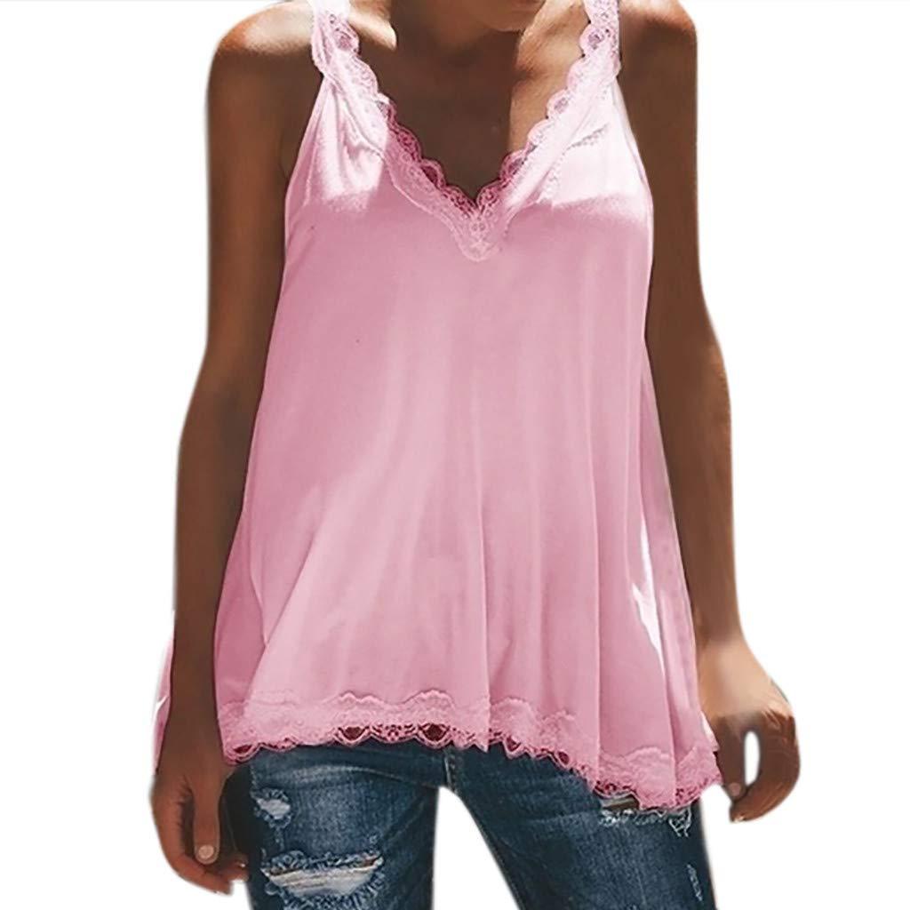 JFLYOU Womens Cotton Tank Top V-Neck Lace Sexy Vest Fashion Camisole Sleeveless T-Shirt(Pink,XL)