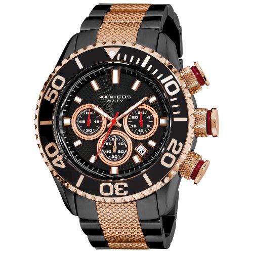 Akribos XXIV Men's AK512TT Conqueror Large Diver's Chronograph Bracelet Watch Diver Military Bracelet