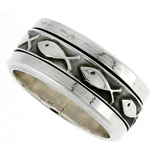 10mm Sterling Silver Ichthys Spinner Ring Christian Fish Design Handmade 3/8 inch wide, size 10