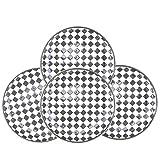 Amoi Black and White Checkered 8 Inches Dinner Plates, Ceramic Salad Dessert Plate Porcelain Dinnerware for Pasta, Steak, Pizza etc, Set of 4