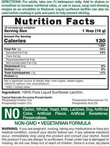 Carlyle Sunflower Liquid Lecithin 16 oz Oil 2pack | Soy Free, Vegetarian, Non-GMO, and Gluten Free | Food Grade by Carlyle (Image #1)