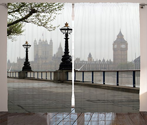 London Curtains by Ambesonne, Ancient Big Ben View from the Street Palace of Westminster Touristic Great Britain, Living Room Bedroom Window Drapes 2 Panel Set, 108 W X 84 L Inches, Multicolor
