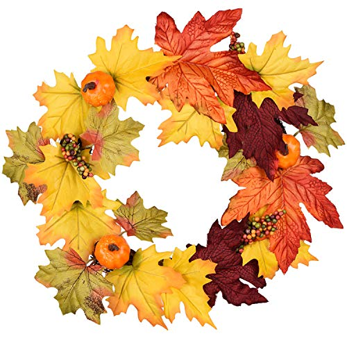 DearHouse 13 Inch Artificial Autumn Fall Wreath, Harvest Thanksgiving Door Wreath for Front Door with Pumpkins, Maple Leaf and Berry