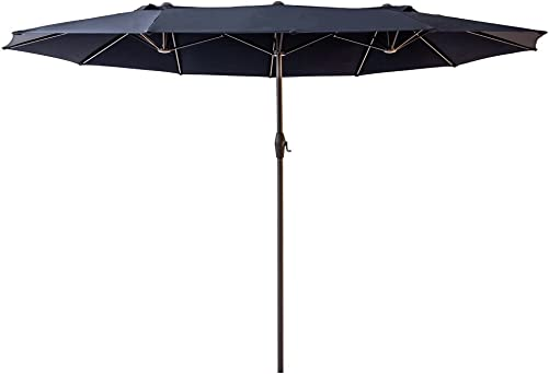 FLAME SHADE 15 Twin Outdoor Patio Market Umbrella Double Sided Oval Shape for Outside Garden Table or Deck Rectangle, Navy Blue