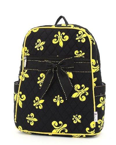 (Belvah Quilted Fleur De Lis Backpack Style Handbag (Black/Gold))