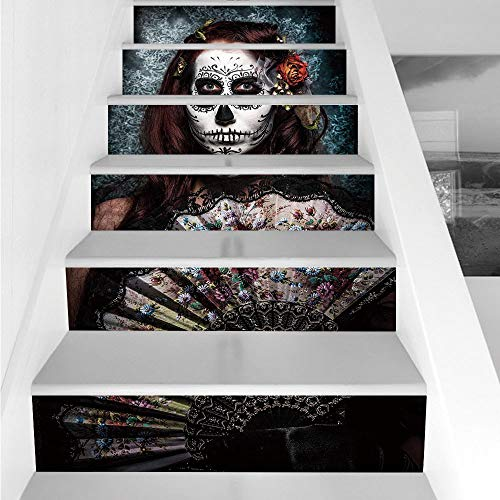 Stair Stickers Wall Stickers,6 PCS Self-adhesive,Day Of The