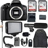 Canon EOS Rebel T6i DSLR Camera (Body Only) + 120 LED Video Light + Large Monopod + 128GB Memory + Shotgun Microphone + Camera & Flash Grip Handle Stabilizer
