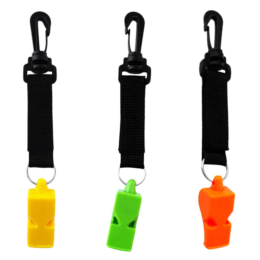 Dolity Pack of 3pcs Safety Marine Whistle with Swivel Hook for Kayaking Camping Hiking Scuba Dive Emergency Survival Rescue