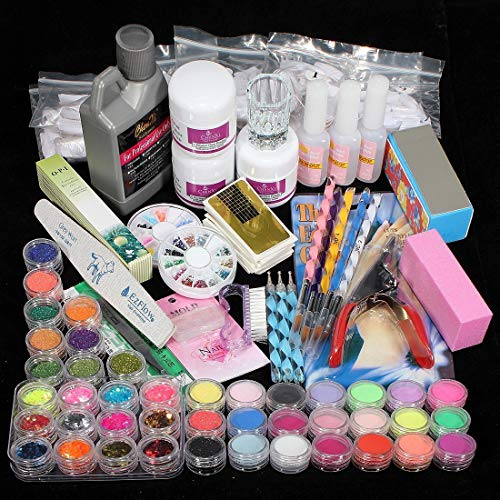 42pcs Professional Acrylic Nail Kit Set Gel Nail Polish, Glitter, Dip Powder, Liquid, Brush, Glue, Drills Supplies Art Tips Nails Care for Women with Everything