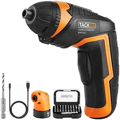 TACKLIFE SDP51DC Cordless Rechargeable Screwdriver 3.6-Volt 2000mAh Li-ion MAX Torque 4N.m - LED, Right Angle Adapter, 1pc Drill Bit, 31pcs Driver Bits, USB Charging Cable