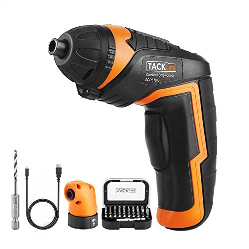 TACKLIFE SDP51DC Cordless Rechargeable Screwdriver 3.6-Volt 2000mAh Li-ion MAX Torque 4N.m – LED, Right Angle Adapter, 1pc Drill Bit, 31pcs Driver Bits, USB Charging Cable