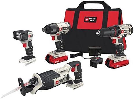 PORTER-CABLE 20V MAX Cordless Drill Combo Kit, 4-Tool PCCK615L4