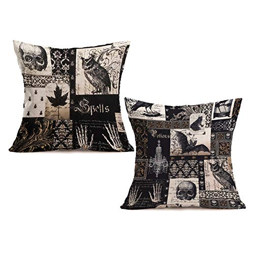 Royalours Pillow Covers Cotton Linen Square Vintage Halloween Decorative Throw Pillow Case Cushion Cover for Home Office Couch 18 x 18 inch Set of 2 Skull Pillowcase(Halloween#1) (Couch Halloween Cover)