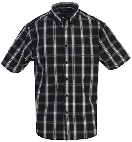 Gioberti Men's Plaid Short Sleeve Shirt, Black/Gray/White Highlight, X Large by Gioberti (Image #1)