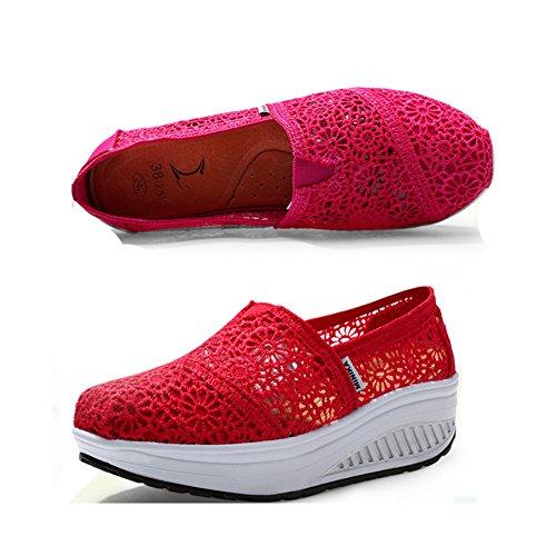 Baskets Mode Btrada Femmes Glisser Sur Des Chaussures Confortables De Voyage Confortable Doux Par Rose
