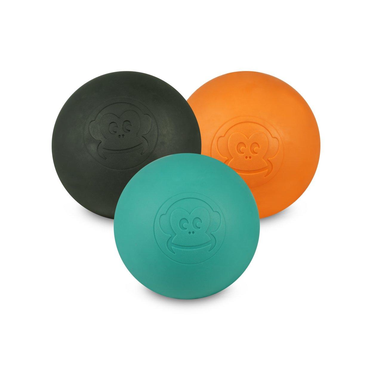Captain LAX Massageball Original - Lacrosseball im 3er Pack mit Den Farben Schwarz, Orange, Türkis, aus Hartgummi, Größe einzeln 6 x 6 cm Geeignet für Triggerpunkt- & Faszienmassage/Crossfit Türkis