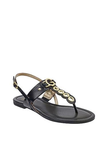 652d92223e1d G by GUESS Women s Lele Logo Emblem T-Strap Sandals Black Multi