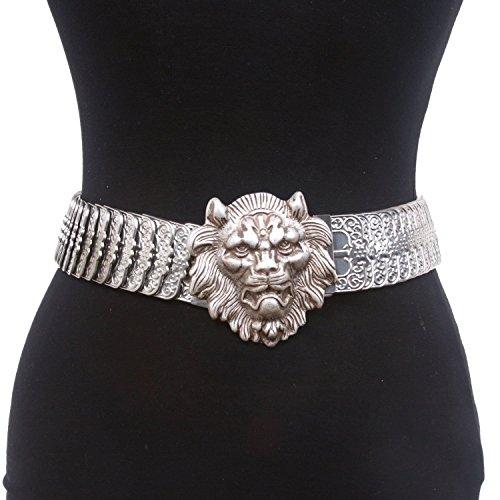 "Beltiscool 1 3/4"" Lion Sequent Metal Stretch Belt Size: M..."