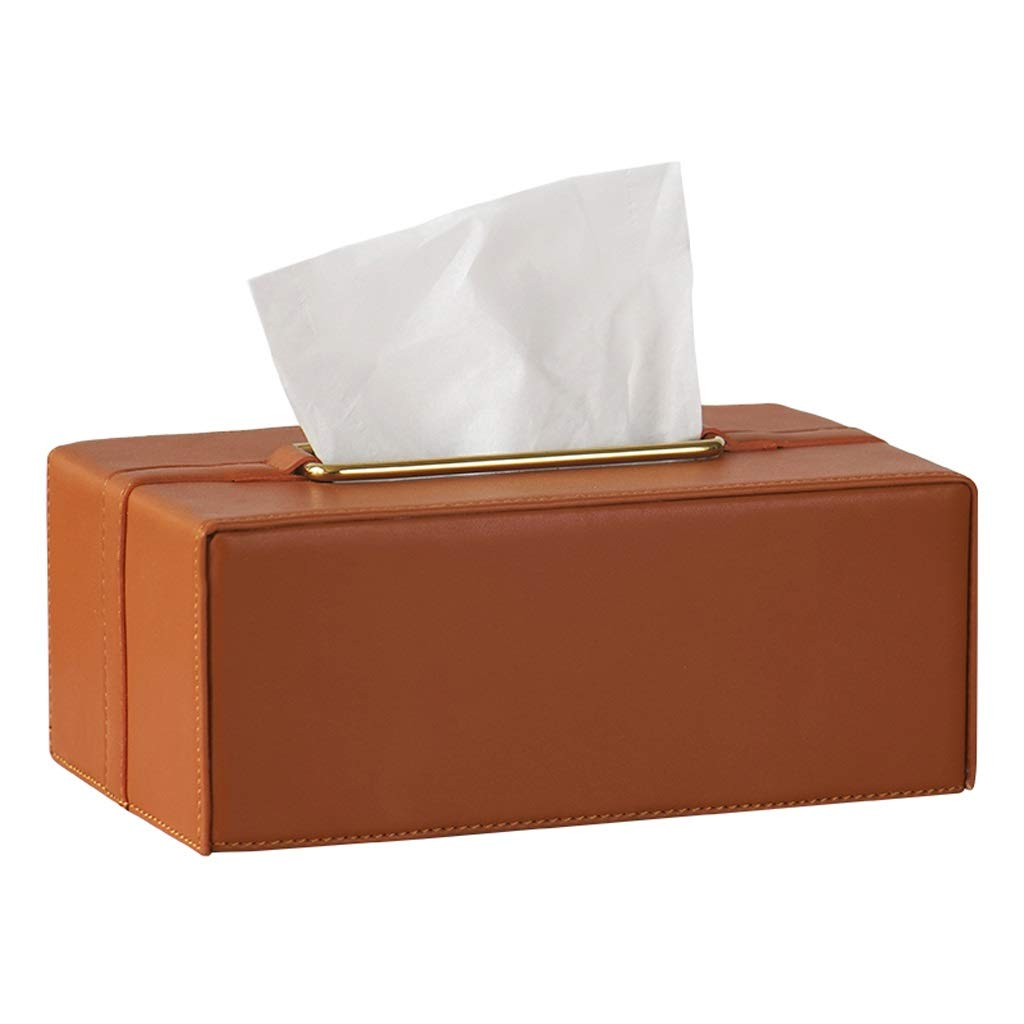 UCYG Stylish PU Leather Tissue Box Holder, Square Napkin Holder Pumping Paper Case Dispenser, Facial Tissue Holder for Home Office Car Automotive Decoration, Gray, Orange,23149.5cm (Color : Orange) by UCYG