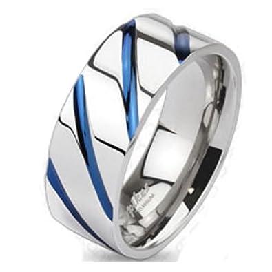 Bungsa Titan Ring Silber Blau Titanium Ring Mit Blauen Streifen