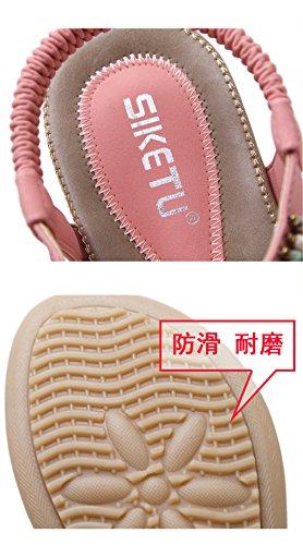 Meijili Women's Bohemian Beaded Ankle Strap Summer Flat Sandals Pink kswtyRz