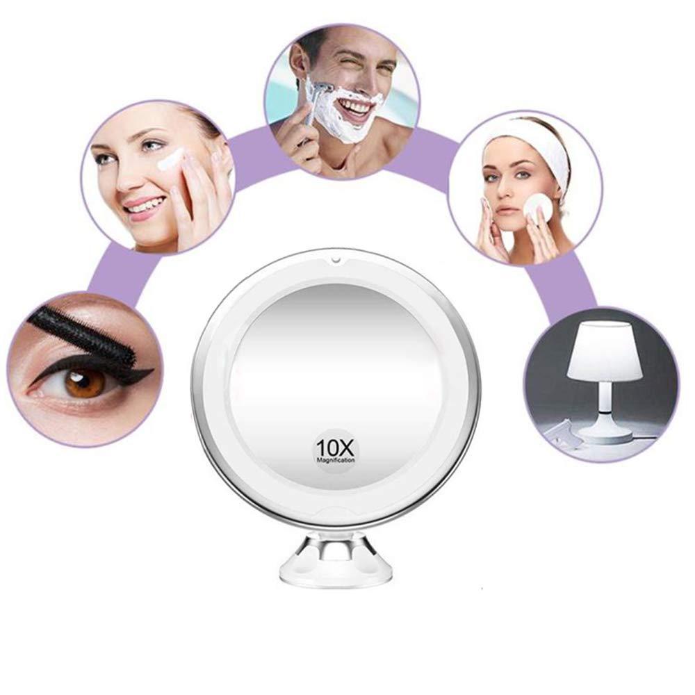 Stand Ealicere 10 Fach Vergr/ö/ßerung LED-Leuchten Kosmetikspiegel 360 Grad Drehung mit Saugnapf f/ür Hand- oder Wandbetrieb