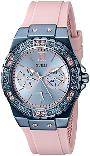 GUESS Women's U0775L5 Sporty Blue Stainless Steel Watch with Multi-function Dial and Pink Strap Buckle