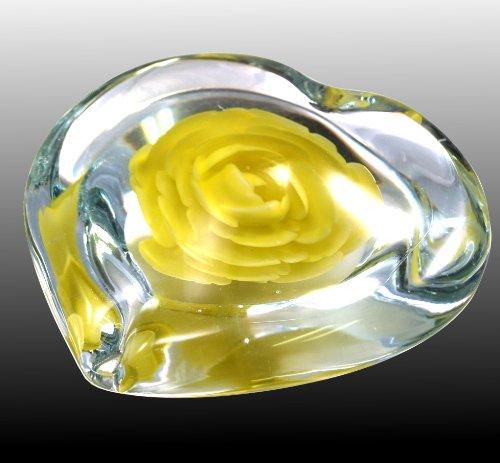 M Design Art Handcraft Yellow Rose Series Handmade Art Glass Paperweight -