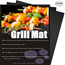 Grill Mat of OscenLife - Set of 2 Non-stick BBQ Grilling Mats - Heavy Duty , Reusable and Easy to Clean of Grill Accessories (13 x 16inch)
