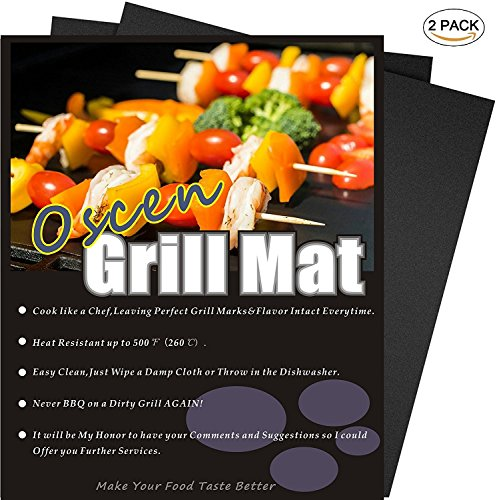 Professional Grill Mat of OscenLife - Set of 2 Non-stick BBQ