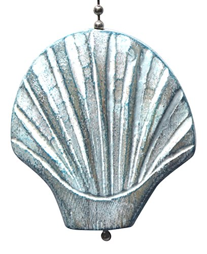 - TIM Aqua Scallop Shell Hand Carved Wood Ceiling Fan Light Pull