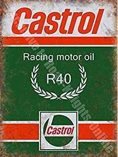 RKO Castrol R Carreras Aceite DE Motor, 200 Gasolina Antigua Vintage Garaje Metal/Cartel para Pared de Acero - 15 x 20…