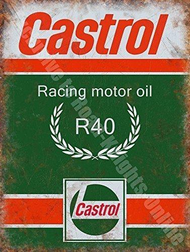 Castrol R Carreras Aceite De Motor, 200 Gasolina Antigua Garaje Vintage Metal/Cartel De