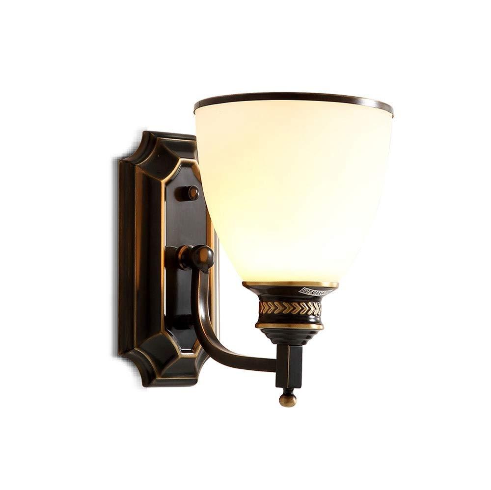 HZC Moderne unbedeutende amerikanische Wandlampe kupferne Lampenschlafzimmerlampentreppengangbeleuchtung Schwarze Lampen