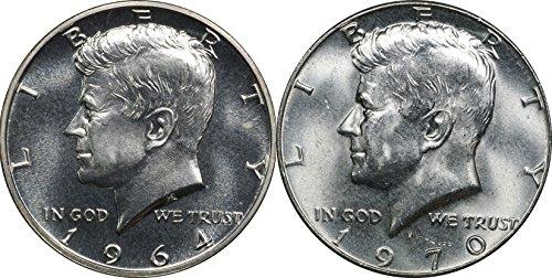 1964 Proof & 1970 D Kennedy Silver Half Dollars, BU, Brilliant Uncirculated (Proof Half Dollar Kennedy)