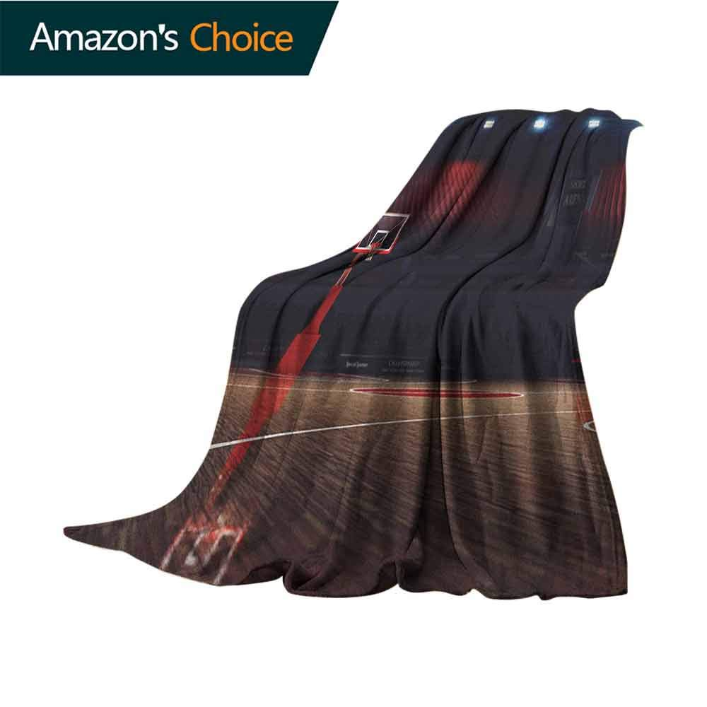 Basketball Toddler Blanket,Picture of Empty Basketball Court Sport Arena with Wood Floor Print Indoor/Outdoor,Comfortable for All Seasons,50'' Wx60 L Brown Black and Red
