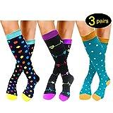 Compression Socks For Women Men 20-25mmHg-1/3 Pairs Best Medical, Nursing, Travel & Flight Socks (S/M, 3 Colours)