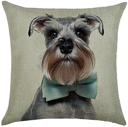 Decorlution Schnauzer With Bow Tie Pattern 18x18 Inch Cotton Linen Throw Cushion Cover Pillow Case For Home Decorative Breathable Square Pillow Covers Cases Standard Pillowcase Home Kitchen