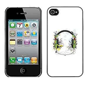 LECELL -- Funda protectora / Cubierta / Piel For Apple iPhone 4 / 4S -- Music Headphones --