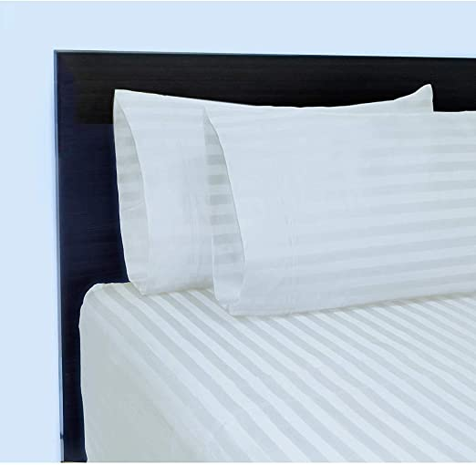 ZAQ  Better Homes 300 Thread Count Wrinkle Free Damask Stripe Pillow cases white