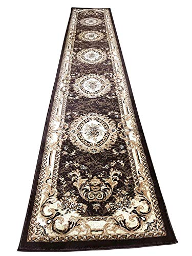 - Traditional Runner Oriental Aubusson Floral 330,000 Point Area Rug Persian Brown & Beige Design 602 (31 Inch X 7 Feet 2 Inch)