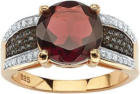 Genuine Red Garnet and Pave Black and White Cubic Zirconia 14k Gold over .925 Silver Cocktail Ring