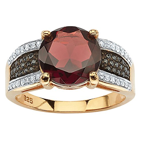 14K Yellow Gold over Sterling Silver Round Genuine Red Garnet and Round Black Cubic Zirconia Ring